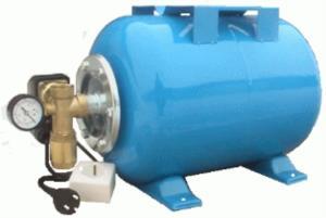 Гидроаккумулятор  50л. (вертикальный) в сборе с реле давления (в комплект входит: манометр, штуцер 5-ти выводной, обратный клапан 1, ФУМ-лента, розетка, шнур питания с заземляющей вилкой).